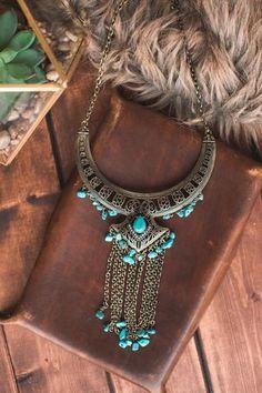 Raven Boho Turquoise Necklace (Gold)
