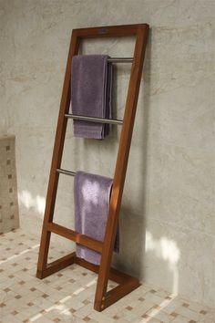 Aqua Teak - Angled Teak Wall Shelf With Hooks, Wall Shelves, Extra Storage Space, Storage Spaces, Teak Bathroom, Bath Shelf, Space Saving, Ladder Decor, Towel