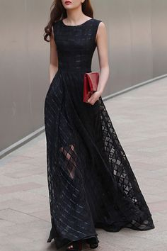 Vicky and Lucas - Check Patterned Maxi Long Dress in Black
