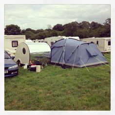 Bernard and awning all set up for our customer and ready to party at Glastonbury Festival :)