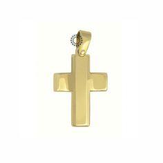 Σταυρός βάπτισης για αγόρι από χρυσό Κ14 με καμπυλωτό το οριζόντιο τμήμα του | Βαπτιστικοί σταυροί ΤΣΑΛΔΑΡΗΣ στο Χαλάνδρι #βαπτιστικός #σταυρός #βάπτισης #αγόρι #κόσμημα