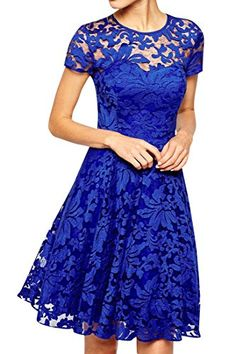 ACHICGIRL Royal Blue Fairy Lace Skater Dress * Click on the image for additional details.