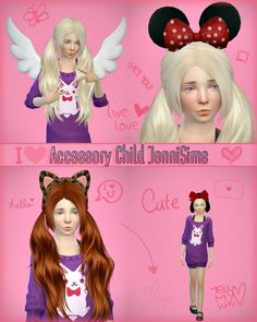 Jenni Sims: Accessory sets child (Bow, Minnie, kitty, Wings) • Sims 4 Downloads
