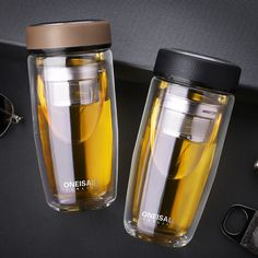 ONE 380ml Double Wall Glass Cup Glass Water Bottle W/Stainless Steel Tea Infuser #Oneisall