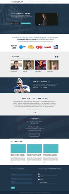 One Page Website Design for a Speakers Bureau