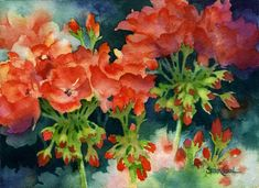 """Take Heart"" Red Geraniums Watercolor by Susan Crouch"