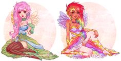 Fluttershy and Rainbow Dash humans