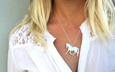 horse pendant sterling silver healing horse spirit necklace romantic country feminine jewelry. $60.00, via Etsy.