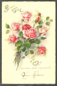 NX061-Bunch-of-Pink-Red-ROSES-Fine-LITHO-PITTIUS-divided-back