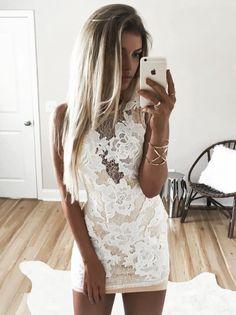 LACE APLLIQUE DRESS - Final Sale