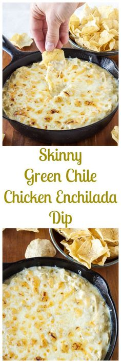 Skinny Green Chile Chicken Enchilada Dip|Creamy, cheesy, enchilada dip that's good you'll want to eat it all! | www.reciperunner.com