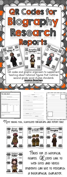 QR Codes for Biography Research Reports - Includes note taking tool, scaffolding paragraph and report page.  Includes 25 historical figures with QR codes to web sites and videos to support students' research. #QRCodes #biographies #researchreport