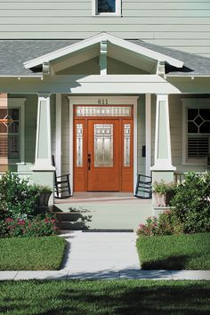 Gorgeous entryway! Vintage Craftsman door glass is Arts and Crafts at its purest. Its bold geometric patterns, highlighted with clear bevel squares and a patina finish, will communicate your appreciation for well designed, honest architecture. This member of our Craftsman Collection offers a medium privacy level available on Zabitat.com #craftsman