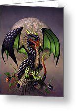 Blackberry Dragon Greeting Card by Stanley Morrison