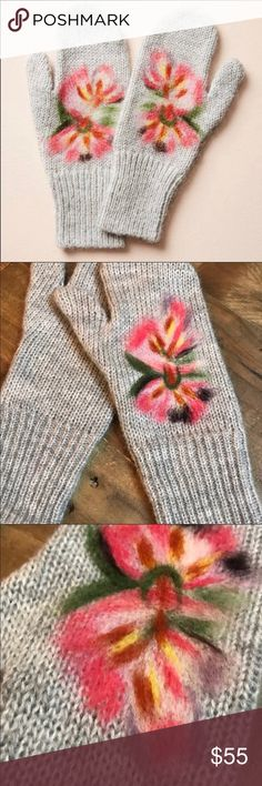 Anthropologie felted mittens Soft and cozy felted Motfi mittens by Anthropologie. Grey knit gloves with floral motif felt.  Anthropologie new with tag. Anthropologie Accessories Gloves & Mittens