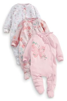 Buy Three Pack Pink Butterfly And Floral Sleepsuits from the Next UK online shop Next Clothing Kids, Baby Dolls For Sale, Baby Prams, Pink Butterfly, Baby Sewing, Future Baby, Swagg, Baby Kids, Kids Outfits