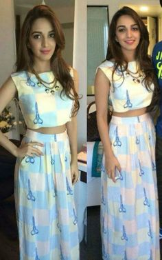 I am a huge fan of quirky printed crop top and maxi skirt sets. Kiara Advani wore such an outfit recently by Nisha Sainani Beautiful Bollywood Actress, Most Beautiful Indian Actress, Beautiful Actresses, Beautiful Celebrities, Girls Fashion Clothes, Girl Fashion, Fashion Outfits, Fashion Beauty, Bollywood Girls