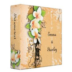 Vintage plumeria ivy orange white wedding binder  #wedding binders  #wedding albums  #photo binders   Click on photo to purchase. Check out all current coupon offers and save! http://www.zazzle.com/coupons?rf=238785193994622463&tc=pin