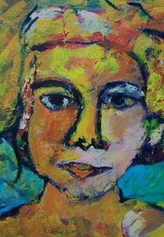"""acryl schildering 80x100, """"Vandaag ga ik het doen"""" van Marian Filarski"""