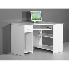 Venus White High Gloss Corner Computer Desk