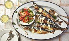 Thomasina Miers' grilled mackerel with tahini and tomato za'atar salad