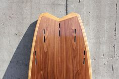 hollow wood surfboard, fishtail, quad-tri-option