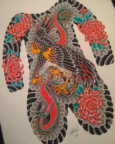 Finished this painting last night, a gift for and such a great place to be working with a positive and… Japanese Painting, Japanese Art, Chest And Back Tattoo, Oriental, Traditional Japanese Tattoos, Japan Tattoo, Back Tattoos, Irezumi, Weekend Is Over