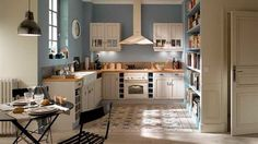 45 Trendy Ideas for kitchen renovation blue wall colors Kitchen Tiles, Kitchen Countertops, Kitchen Decor, Blue Wall Colors, Paint Colors, Retro Appliances, Kitchen Appliances, Cocinas Kitchen, Cuisines Design