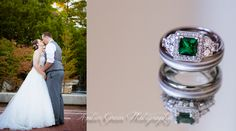 Wedding photography- St. Louis Bride and groom first kiss. Unique emerald wedding ring.