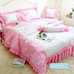 Korean Pink Queen Size Bedding Set Romantic Little Heart Print Duvet Cover Set #FADFAY #Korean