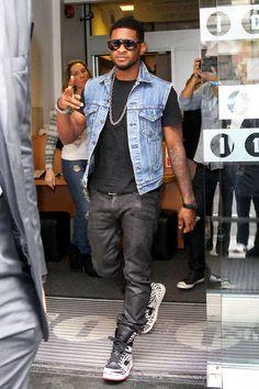 Usher wearing Balmain Wax Jeans and Diet Butcher Slim Skin Zebra Print Sneakers