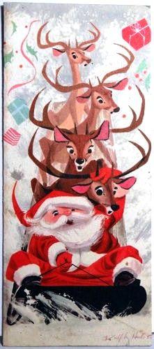 """Santa & his Reindeer"", illustrated by Ralph Hulett"