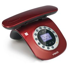 The Vtech  Retro Phone, Red - Inspired by the classic corded rotary telephone design, the LS6195 delivers a blend of contemporary and retro design trends. Dial a call from the push button base keypad that is arranged like the classic rotary telephone. The speakerphones allows you to speak and listen without holding the handset.
