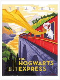 Harry Potter fan art, Travel poster, Hogwart's Express by Caroline Hadilaksono by alexandria Harry Potter Fan Art, Harry Potter Poster, Harry Potter Library, Poster Vintage, Vintage Travel Posters, Illustration Art Nouveau, Travel Ads, Travel Brochure, Travel Agency