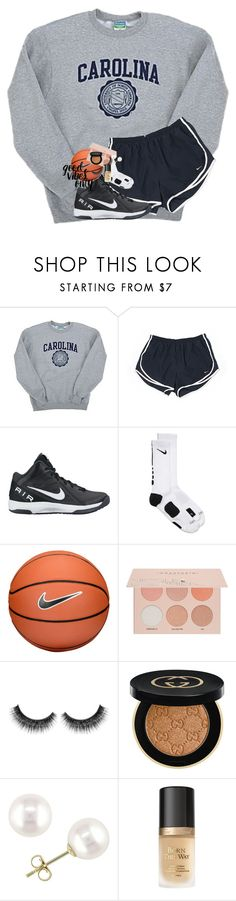 """""""got my Jesus and got my coffee and tea and got my basketball"""" by lindsaygreys ❤ liked on Polyvore featuring Champion, NIKE, Guerriero, Gucci, Miadora and Too Faced Cosmetics"""