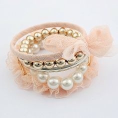5PCS of Sweet Lace and Beaded Bracelets For Women