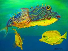 Puffer And Yellow Tangs Painting by Elaine Haakenson