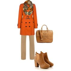 """burnt orange/neutrals"" fall outfit"