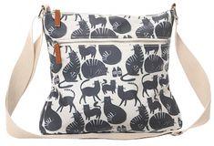 Natural coloured crossbody across body shoulder bag with a dark grey blue cat pattern by English Designer Lisa Buckridge Adjustable shoulder strap