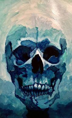 Original Still Life Painting by Tess Gumbin Skull Artwork, Skull Painting, Blue Painting, Painting Abstract, Skeleton Art, Skeleton Anatomy, Portrait Art, Portrait Paintings, Abstract Portrait
