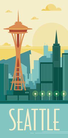 KAKÉMONODÉCO - Illustration de la ville de Seattle revisité en mode vintage dans un style graphique et géométrique - Décor mural