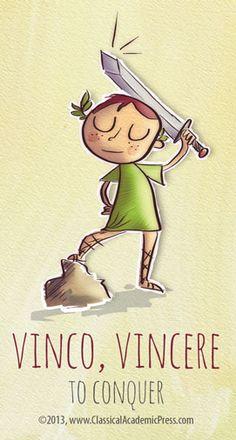 Vinco, Vincere (in Latin) = to conquer. Latin Phrases, Latin Words, Latin Language, English Language, Roman Latin, Teaching Latin, Modern English, Teachers Pet, Teaching Materials