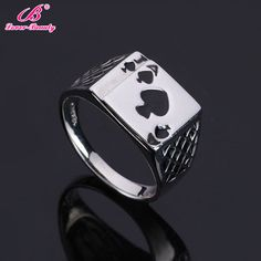 >> Click to Buy << Lover Beauty Fashion Personality Spades A Heart Poker Wedding Rings for Women Exaggerated Dark Retro Oil Ring-D #Affiliate