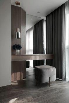 Chambre moderne et simple Luxury Bedroom Design, Hotel Room Design, Master Bedroom Interior, Modern Master Bedroom, Minimalist Bedroom, Home Bedroom, Apartment Interior, Apartment Design, Dressing Table Design