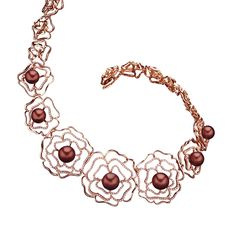 Bergio Couture Posh Necklace: 18 Karat Rose Gold with White Diamonds at 3.37 Carat Total Weight & Chocolate Pearls (B2154-C1)  Bergio | http://www.artisansjewelers.com/