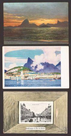 (3) Cartões Postais - Lembrança do Rio de Janeiro (Avenida Central) / Vista de Niterói - Rio de Jane