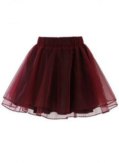 Wine Red Mini Skater Skirt #skaterskirt #miniskirt #tulle #ustrendy
