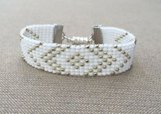 Silver and White Bead Loom Bracelet by HoneyLemon27 on Etsy