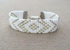 Silver and White Bead Loom Bracelet by HoneyLemon27 on Etsy