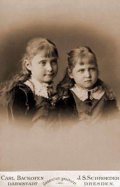 Alix of Hesse (later Empress Alexandra Feodorovna of Russia), and May, Darmstadt. 1874
